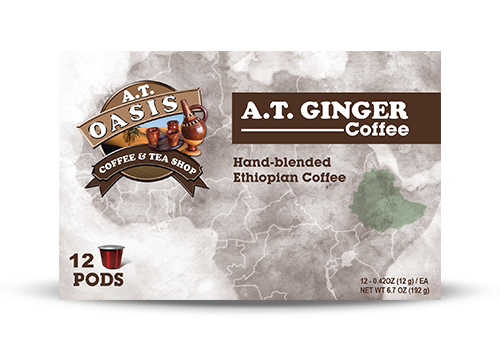 A.T Oasis coffee pod box packaging