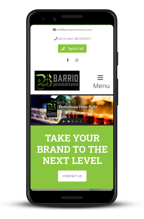 Cellphone preview of Barrio Promotions website