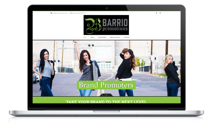 Barrio Promotions website preview on a laptop