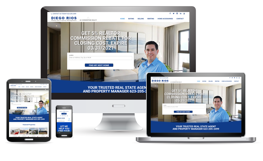 Diego Rios Realtor website preview for desktop, laptop, tablet, and cellphone