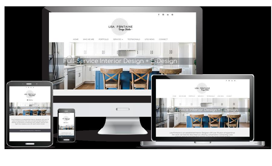 Lisa Fontaine Design Studio website preview for desktop, laptop, tablet, and cellphone.