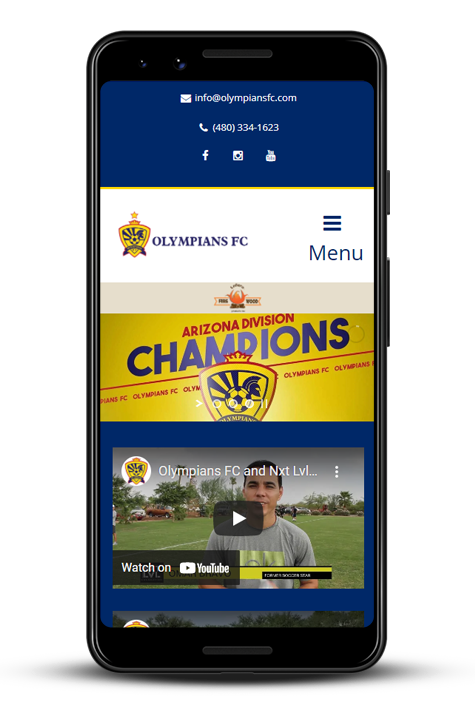 Olympians FC website preview for cellphone