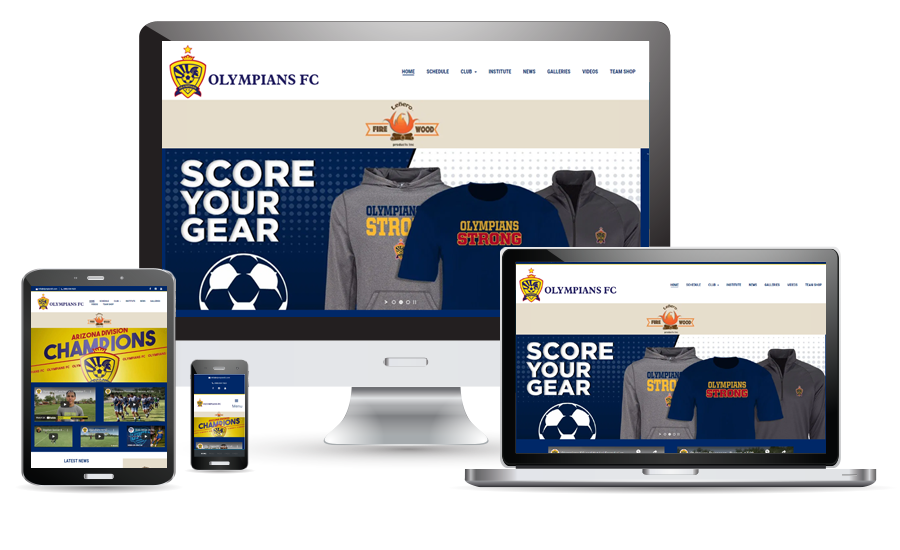Olympians FC website preview for desktop, laptop, tablet, and cellphone