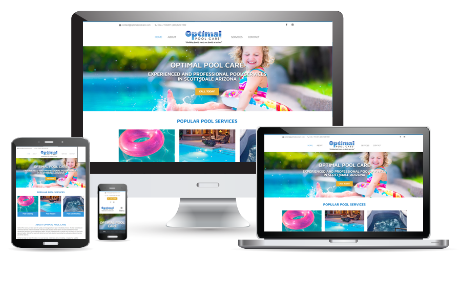 Optimal Pool Care website preview for desktop, laptop, tablet, and cellphone